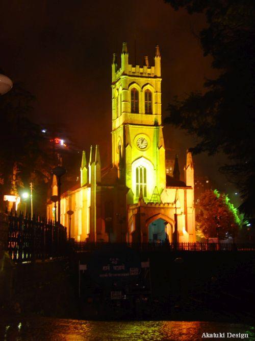 シムラの教会夜景写真